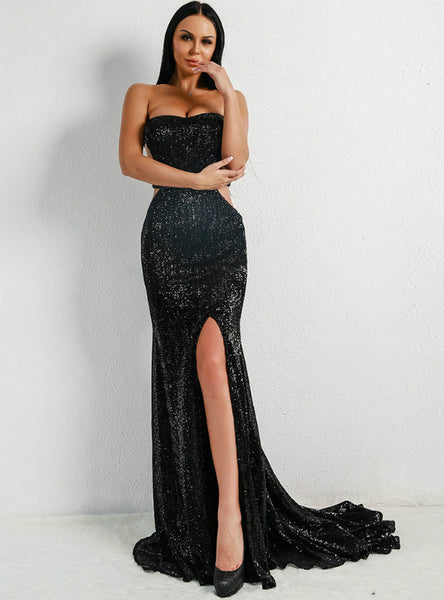 Long Mop Dress Matching Chest Shoulder-exposed Sequins