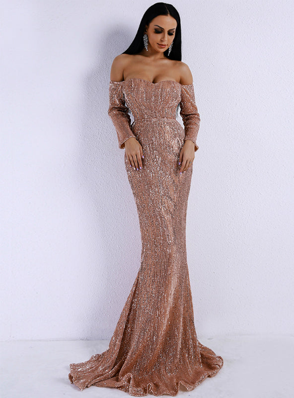 Sexy V-neck Shoulder Long Sleeve Strapless Dress