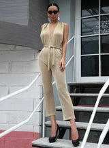Sexy Wire Halter Deep V-neck Jumpsuit With Hat