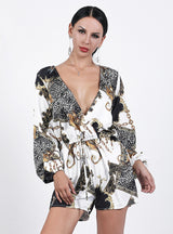 Deep V-neck Long Sleeve Printed One-piece Jumpsuit