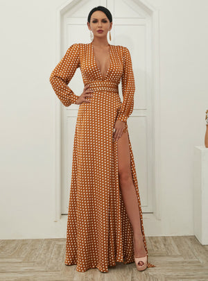 Long Skirt Wave Print V-neck Split Long Sleeve Dress