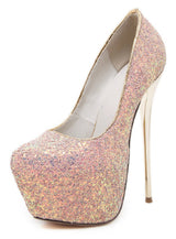 High Stiletto Heels Shoes Toe Thin Heels Glitters