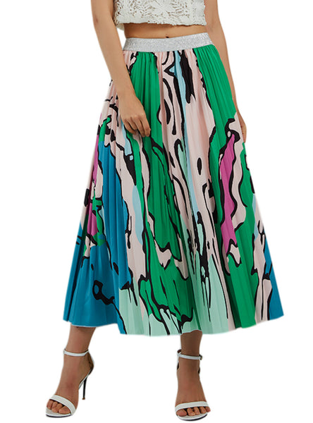 Green Stripes Graffiti Pleated Skirt Printing