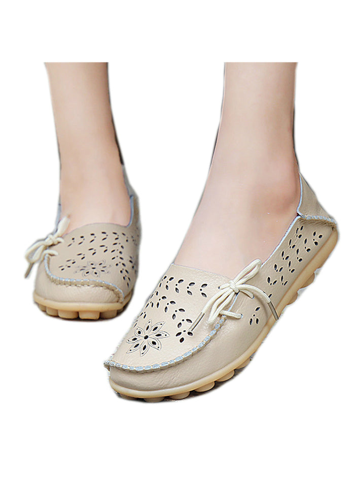 Leather Shoes Woman Loafers Slip-On Female Flats