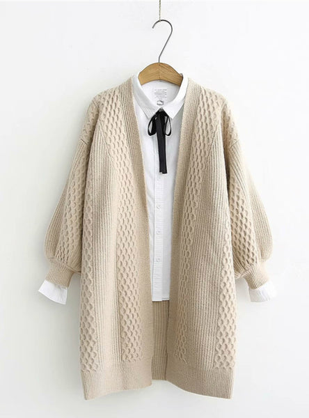 V neck Lantern Sleeve Open Stitch Loose Sweater Jacket