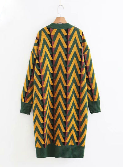 Winter Long Sweater Jacket Geometric Knit Cardigans
