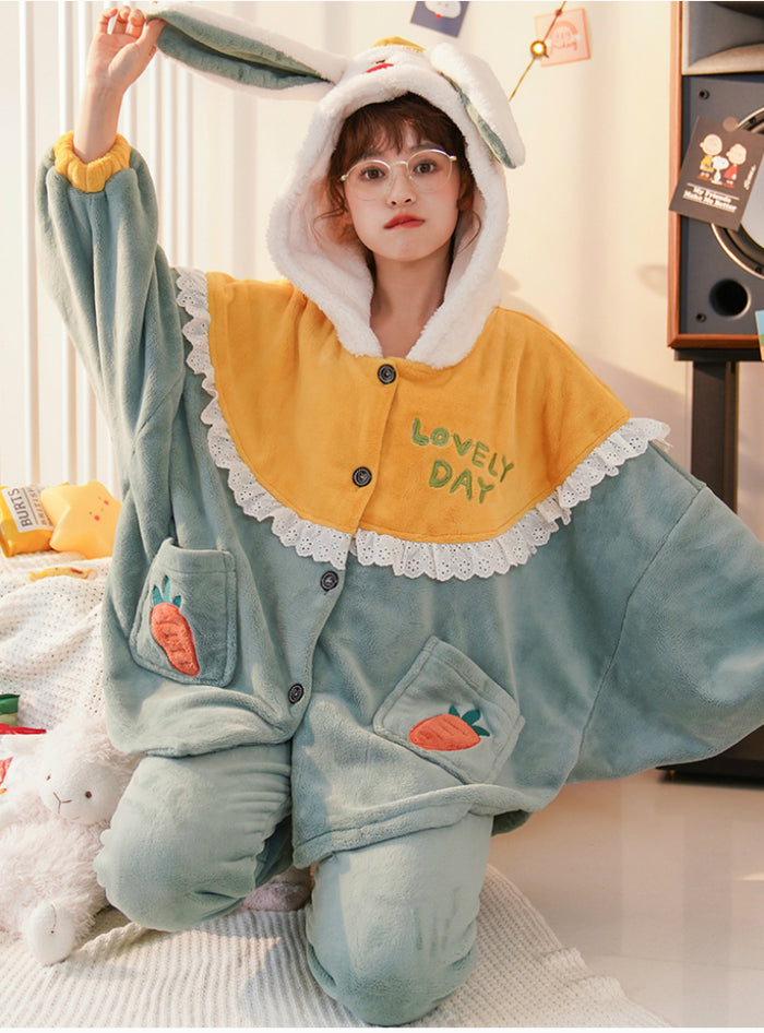 Green Rabbit Thickened Coral Fleece Winter