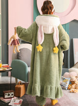 Green Rabbit Warm Robe Suit Women's Lovely Flannel