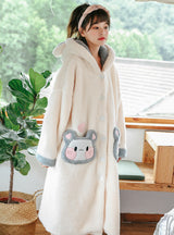 White Rabbit Coral Velvet Cotton Triple Pajamas Suit