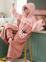 Pink Coral Velvet Pajamas Sweet For Women