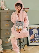 Pink Elephant Lovely Flannel Hooded Home Clothes