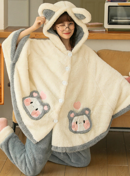 Women Winter Thickened Coral Fleece Sleepwear