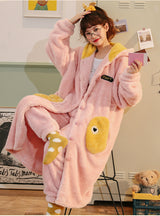 Coral Pajamas Cartoon Cute Warm Set Thick Flannel