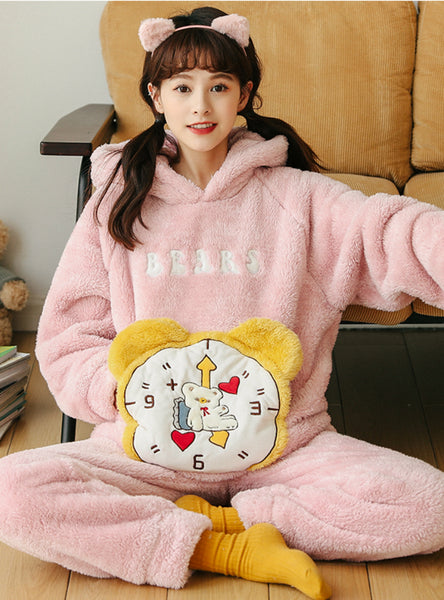 Pink Alarm Clock Lovely Flannel Velvet Thickening Suit