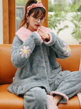 Women Blue Cherry Blossoms Coral Velvet Pajamas Women Thick Warm