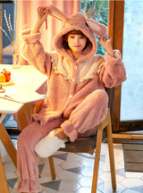 Pink Rabbit Sweet And Lovely Cartoon Coral Fleece