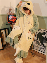 Women Green Hooded Robe Female Coral Fleece Long