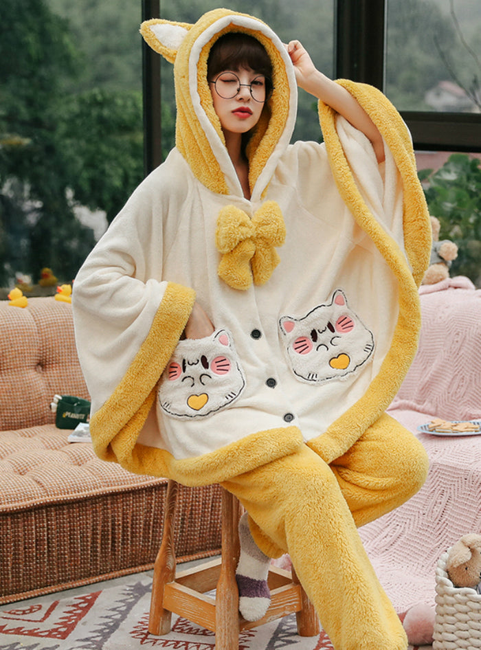Cloak Cute Kitten Winter Flannel Loose Nightwear