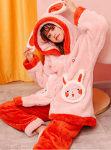 Round Face Rabbit Thickened Flannel Household Clothes Hooded