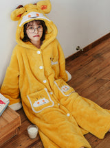 Yellow Cute Cow Coral Velvet Robe Thick Long