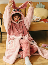 Pink Pikachu Winter Thick Coral Fleece Two-piece Suit