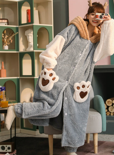 Women Gray Thickened Cashmere Flannel Nightwear