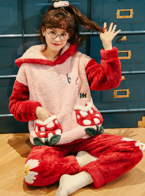 Women's Red Coral Velvet Pajamas Thickening Flannel