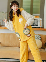 Yellow Cartoon Winter Coral Velvet Thickening Suit
