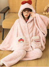 Winter Coral Fleece Plus Velvet Padded Cute Suit