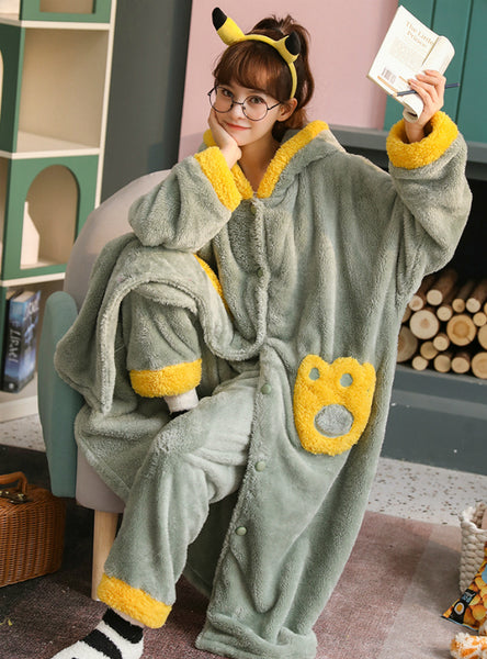Green Long Sleeping Coral Velvet Pajamas Cute Flannel