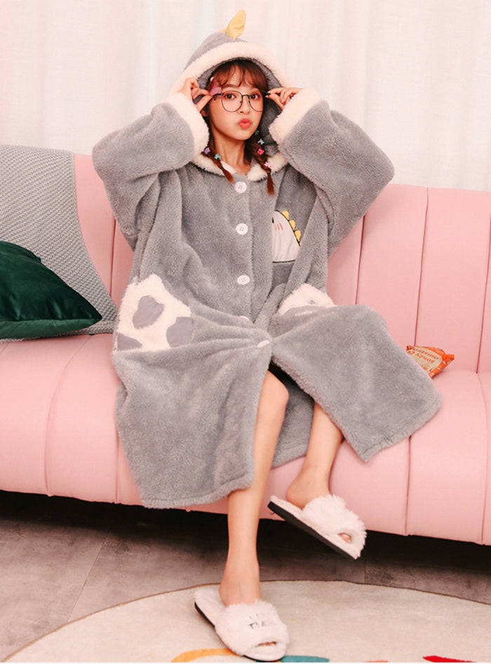 Women Gray Dinosaur Thickened Long Sleeve Winter Flannel