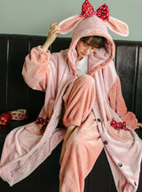 Purple Rabbit Bow Thickened Cashmere Long Two-piece Robe