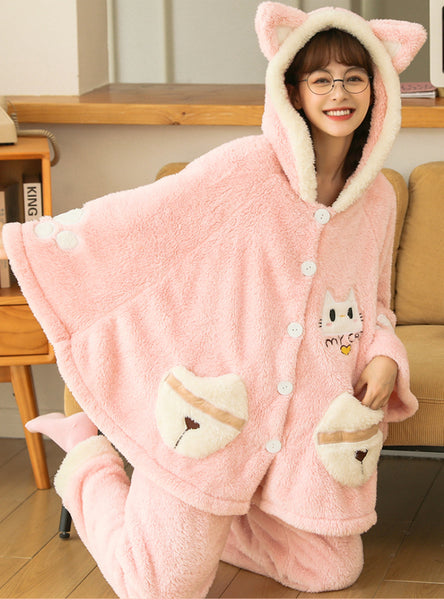 Winter Pajamas Coral Fleece Thickening Velvet Suit