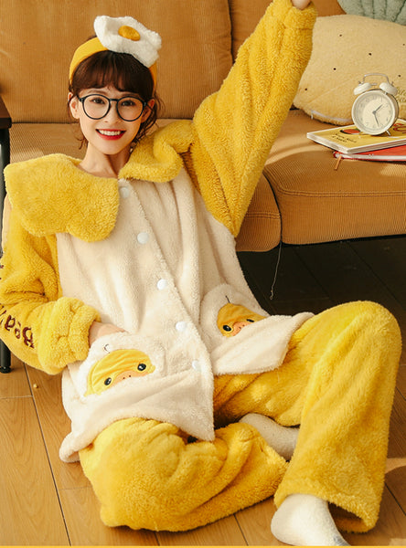 Yellow Duck Thickened Coral Fleece Winter Suit