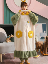 Green Velvet Padded Nightgown Hooded Long Bathrobe