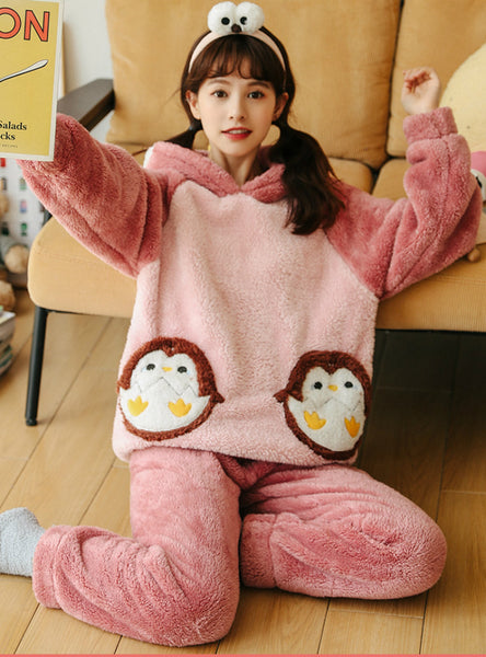 Women Winter Pink Penguin Thickened Coral Fleece