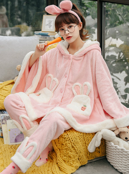 Pink Rabbit Thickened Velvet Cute Cartoon Cloak Flannel
