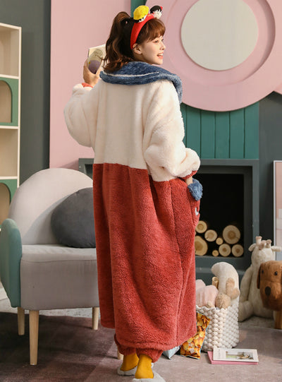 Winter Pajamas Women Coral Fleece Thick Warm