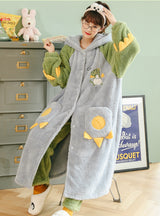 Green Dinosaur Pajama Flannel Velvet Padded Nightgown Hooded