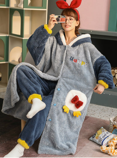 Blue Penguin Coral Velvet Robe Women Sleepwear