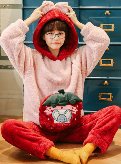 Pink Coral Fleece Warm Home Clothes Winter Two-piece Suit