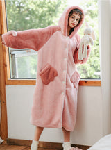 Pink Pig Winter Padded Nightgown Winter Long Flannel
