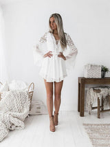 White Summer Bohemian Mini Lace Casual V-neck Long Sleeve Dress