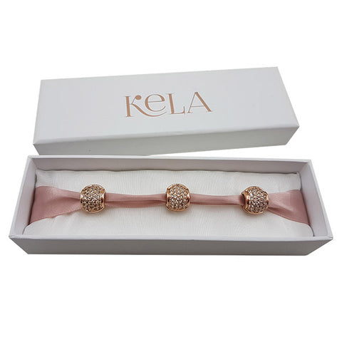 3x Rose Gold Celeste Diamante Charms