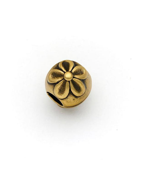3x Flower Crusado Brass Charms