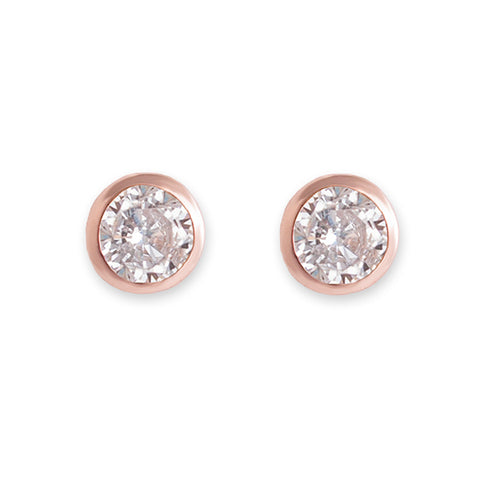 Rose Gold Cubic Zirconia Bezel Stud Earrings