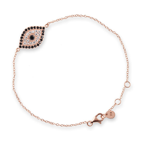Rose Gold Cubic Zirconia Evil Eye Bracelet