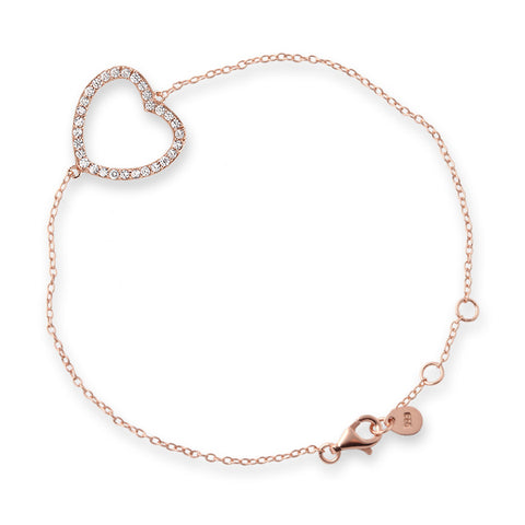 Rose Gold Cubic Zirconia Side Heart Bracelet