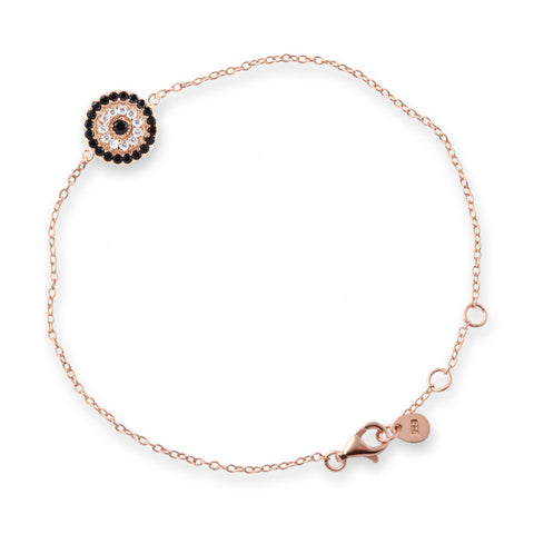 Rose Gold Circle Evil Eye Bracelet