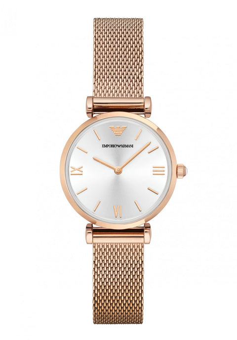 Ladies Rose Gold Steel Mesh Dress Watch
